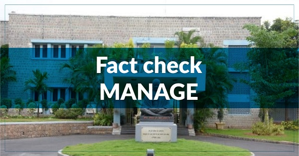 Fact Check – National Institute of Agricultural Extension Management (MANAGE)
